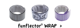 funflector slap wrap bracelet for high visibility running, walking or biking
