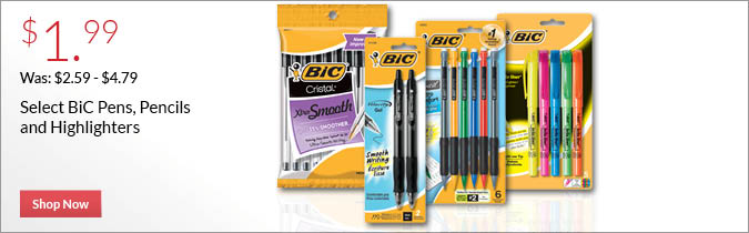 Select Bic Pencils and Pens, $1.99.  Shop Now.