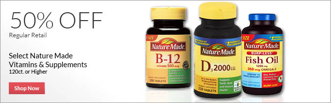 Select Nature Made Vitamins and Supplements, 50% off. Shop Now.