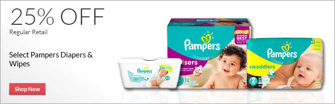 Select Pampers Diapers & Wipes, 25% OFF. Shop Now.