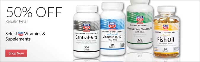 Select Rite Aid Brand Vitamins & Supplements, 50% off. Shop Now.