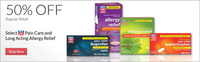 Select Rite Aid Brand Pain Care and Long Acting Allergy Relief, 50% off. Shop now.