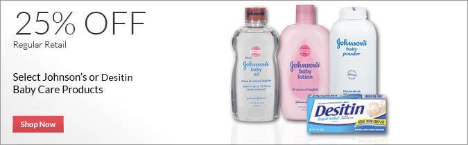 Select Johnson's Baby or Desitin Baby Care Products, 25% OFF. Shop Now.