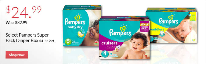 Select Pampers Super Pack Diapers, $24.99. Shop Now.