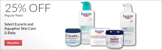 Select Eucerin & Aquaphor Skin Care & Baby, 25% OFF. Shop Now.