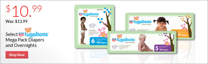 Select Rite Aid Brand Tugaboos MegaDiapers and Overnights, $10.99.. Shop Now.