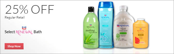 Select Rite Aid Brand Renewal Bath Care 25% OFF. Shop Now.