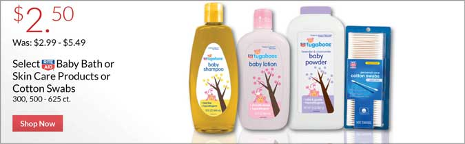 Select Rite Aid Brand Baby Bath or Skin Care Products or Cotton Swabs, $2.50. Shop Now.
