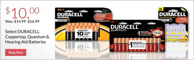 DURACELL Quantum or Hearing Aid Batteries, $10.00