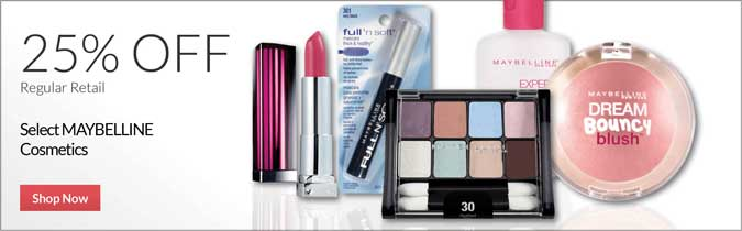 Maybelline Cosmetics, 25% off. Shop Now.
