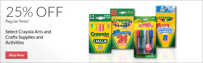 Select Crayola Arts and Crafts Supplies and Activities, 25% OFF. Shop Now.