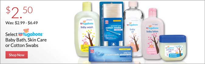 Rite Aid Tugaboos Baby Bath, Skin Care or Cotton Swabs, $2.50