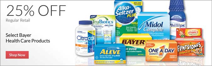 Select Bayer Health Care Products, 25% off. Shop now.