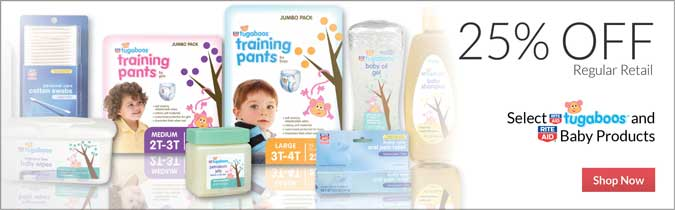 Rite Aid Brand Tugaboos Diapers, Training Pants, Overnights & Baby Care Products, 25% off