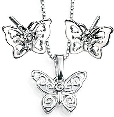 D for Diamond Sterling Silver Girls Lattice Butterfly Diamond Earrings And Pendant Set (Top Quality Bundle)