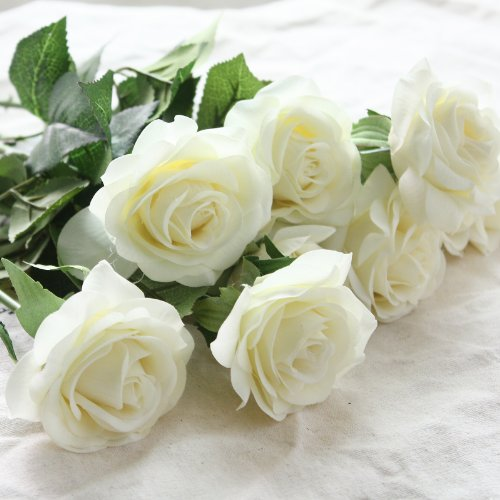 Wholesale Artificial Silk Latex Rose Flowers Wedding Bouquet Bridal Decoration Bundles Real Touch Flower Bouquets Realistic Flower Bouquet The Light Color Rose Bouquet - Dozen Pack (Cream Ivory, one Dozen-12pcs)
