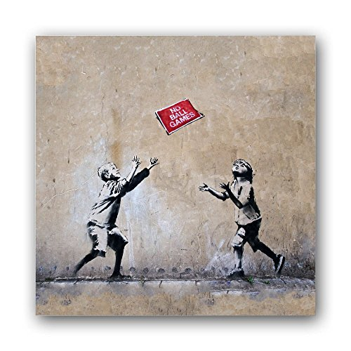 banksy streetart bild a409 1 teil 9x9cm seidenmatte optik auf forex moderne schwebende optik. Black Bedroom Furniture Sets. Home Design Ideas