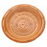 RoyaltyLane Copper Hindu Puja Thali - Engraved Om Symbol And Gayatri Mantra - Spiritual Gifts - 6.5""