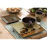 16 Piece Roaming Elk Stoneware Dinnerware Set w/ Mugs, Plates & Bowls. PERFECT FOR ANY CABIN ON SALE NOW