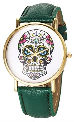 Shot-In 2014 Fashion Sport Watch Geneva Skull Gold Analog Leather Quartz Watch (Deep Green)