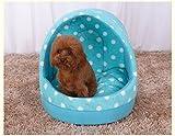 Milkee ペットハウス ドーム型 室内用 ペット用ベッド ペット用ソファ マット クッション 犬・猫用 簡易 洗える 防水 屋根 もこもこ 保温 あったか 春・夏・秋・冬用 中、小型犬 (S, ブルー)