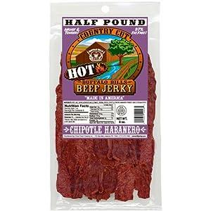 Buffalo Bills 8oz Chipotle Habanero Country Cut Beef Jerky Pack (moist & tender hot beef jerky)