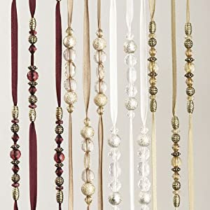 "Jewelry Strand Window Coverings - Jacqueline Jewelry 84"" Window Covering - Burgundy"