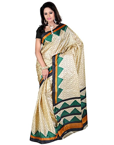 Alethia Green Art Silk Casual Wear Printed Sarees Without Blouse Piece