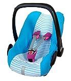 ByBoom® - Funda de verano / funda hecha de tela de toalla, funda universal para portabebés (Moisés), asiento de coche, por ejemplo, Maxi-Cosi CabrioFix, Pebble, City SPS, Color:Azul/Rayas Azul