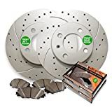 2000 Mazda 626 2.0L Engine Front - Front Low Dust Ceramic Pads and Premium Drilled and Slotted Brake Rotors