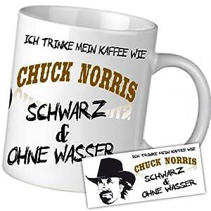 ich trinke mein kaffee wie chuck norris schwarz und ohne wasser kaffee becher weiss. Black Bedroom Furniture Sets. Home Design Ideas