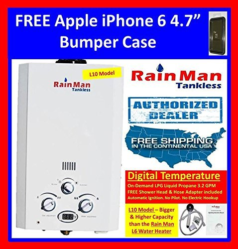 BEST RATED PORTABLE TANKLESS WATER HEATER & SHOWER JSD20-10A1-LPG ON-DEMAND LPG GAS 3.2 GPM DIGITAL TEMPERATURE for RV, Camping, Hunting, Outdoor, Concession, Horse Washing, etc.. by Rain Man Tankless + FREE APPLE iPHONE 6 5.5″ BLACK BUMPER CASE