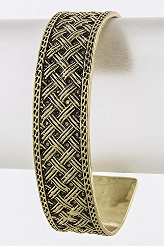 [BAUBLES & CO CROSSOVER MOTIF CUFF (Antique Gold)] (Dallas Wholesaler Costumes Jewelry)