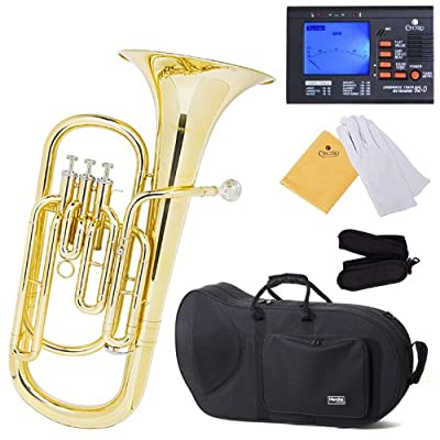 Mendini MBR-20 Lacquer Brass B Flat Baritone with Stainless Steel Pistons discount price 2015