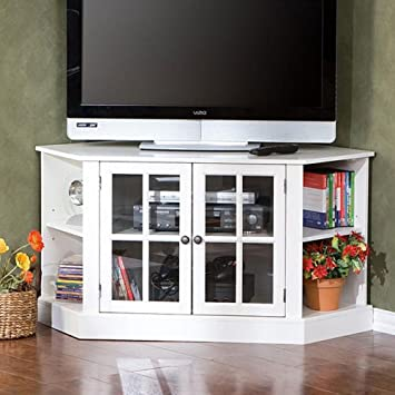 Best Home Crescent White Corner Media Console 42 Inch Tv Stand with Glass Doors