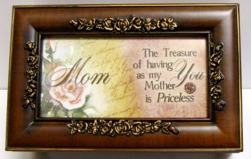 Cottage Garden Mom Mother Woodgrain Petite Rose Music Box / Jewelry Box Plays Wind Beneath My Wings (Picture Jewelry Box compare prices)