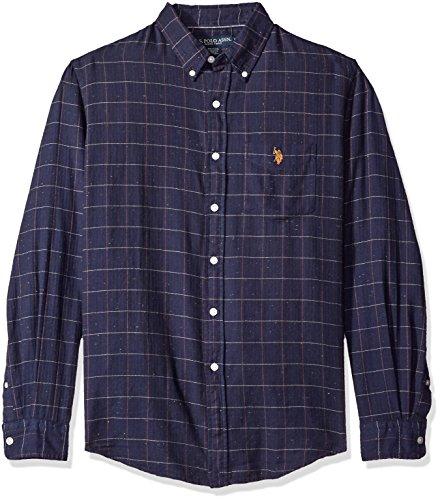 U.S. Polo Assn. Men's Long Sleeve Fit Button Down Herringbone Neps Check Sport Shirt, Classic Navy, Small (Polo Classic Fit Button Down compare prices)