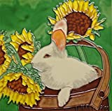 Continental Art Center BD-0428 8 by 8-Inch Rabbit with Sunflower Ceramic Art Tile