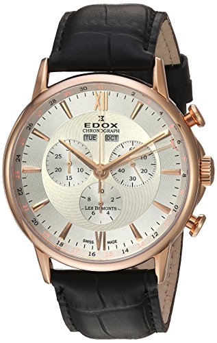 Edox-Mens-Les-Bemonts-Swiss-Quartz-Stainless-Steel-and-Leather-Dress-Watch-ColorBlack-Model-10501-37R-AIR