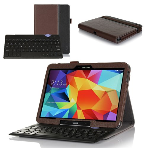 ProCase Premium Folio Bluetooth Keyboard Case for Samsung Galaxy Tab 4 (10 inch, SM-T530) and Galaxy Tab 3 (10.1 inch, GT-P5200) - Muti-angle Stand Leather Smart Cover with Ultra Slim Magnetically Detachable Bluetooth Keyboard (4mm), bonus procase Stylus Pen included (Brown/Black)