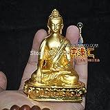 仏像/ チベット 密教 小 金色 の 彫像 仏 仏 釈迦牟尼 仏 サンボ の 高さ 9.5 cm