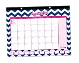 "2014-15 Academic Desk Calendar with Vision Board August 2014 to July 2015 16"" x 21"" bloom daily planner Hanging Desk Calendar Desk Pad - Pink with Blue Chevron"
