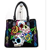 Fashionable Female Women Barrel Type Handbags Pouch Day of the Dead Sugar Skull Print.