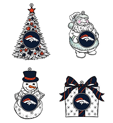 Led Holiday Orn 4 Assort, 3In, Denver Broncos
