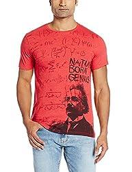 Einstine Men's Cotton T-Shirt (8903346584369_EI1EMT699_Large_Poinsettia Red Melange)