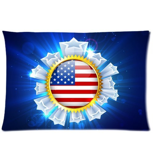 Butuku American Flag Badge Custom Rectangle Soft Pillow Case Standard Size 20X30 front-759114