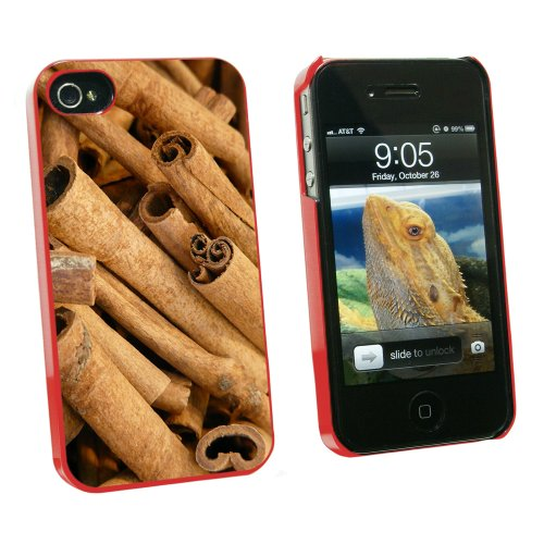 Cinnamon Sticks - Dried Brown Spice - Snap On Hard Protective Case for Apple iPhone 4 4S - Red