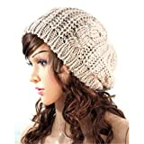 Women Lady Winter Warm Knitted Crochet Slouch Baggy Beret Beanie Hat Cap (Cream-colored)