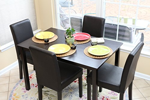 5 PC Black Leather 4 Person Table and Chairs Brown Dining Dinette - Black Parson Chair (Kitchen Table And Chairs For 4 compare prices)
