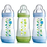 MAM Self-Sterilising Anti-Colic 260 ml Bottles 3-Pack (2 x Blue, 1 x Green)by MAM
